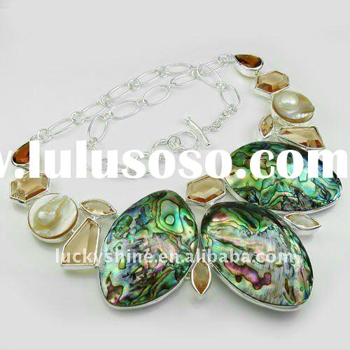 wholesale 925 silver Abalone Shell necklace wedding jewelry set
