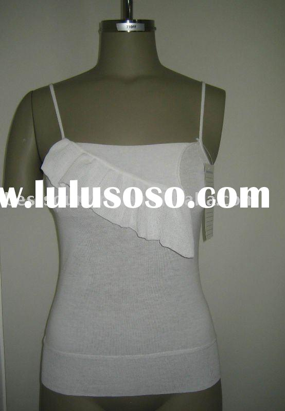 women's summer strap & ruffle knitwear ladies tank top made in 100% cotton 14gg knitted