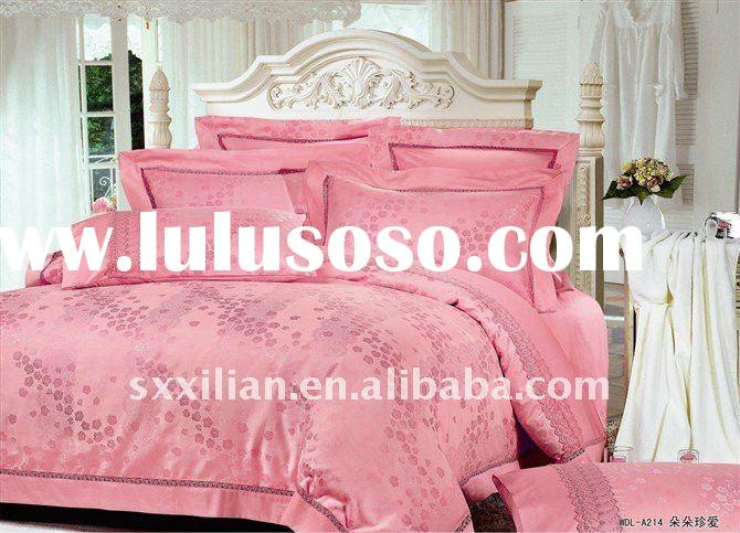 100%silk damask jacquard wedding bedsheet set/wedding bedding/duvet cover set/embroidery bedding
