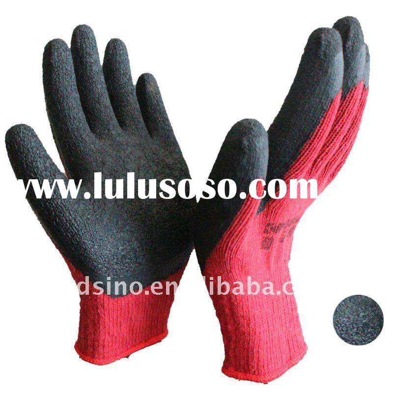 10G 10s red cotton t/c liner black latex coated knitted work gloves