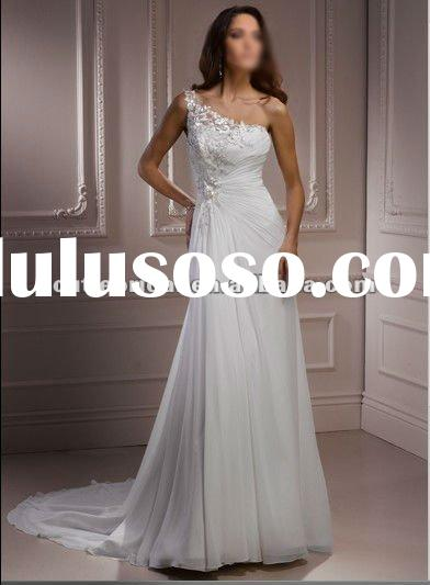 111374 2012 New One-shoulder Chiffon Beach Grecian Wedding Dress