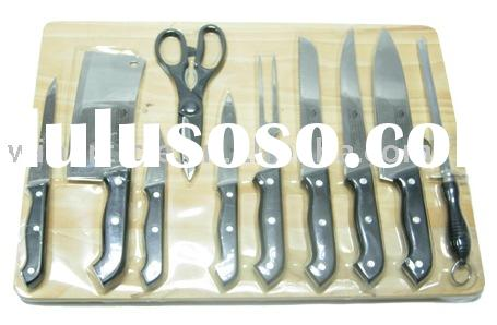 11pcs knife sets with wood cutting board