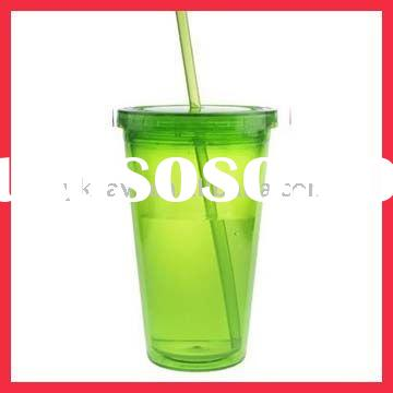 16 OZ Double Wall Plastic Tumbler Cup with Straw & Lid