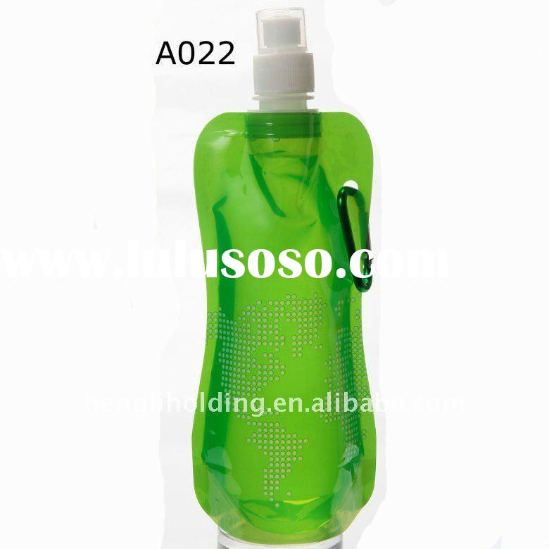 16oz or 480ml Easy-to-take Plastic Foldable Water Bottle with Carabiner