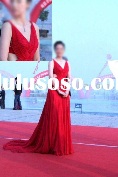 2009 most famous style red chiffon evening dress evening gown for Chrismas Day