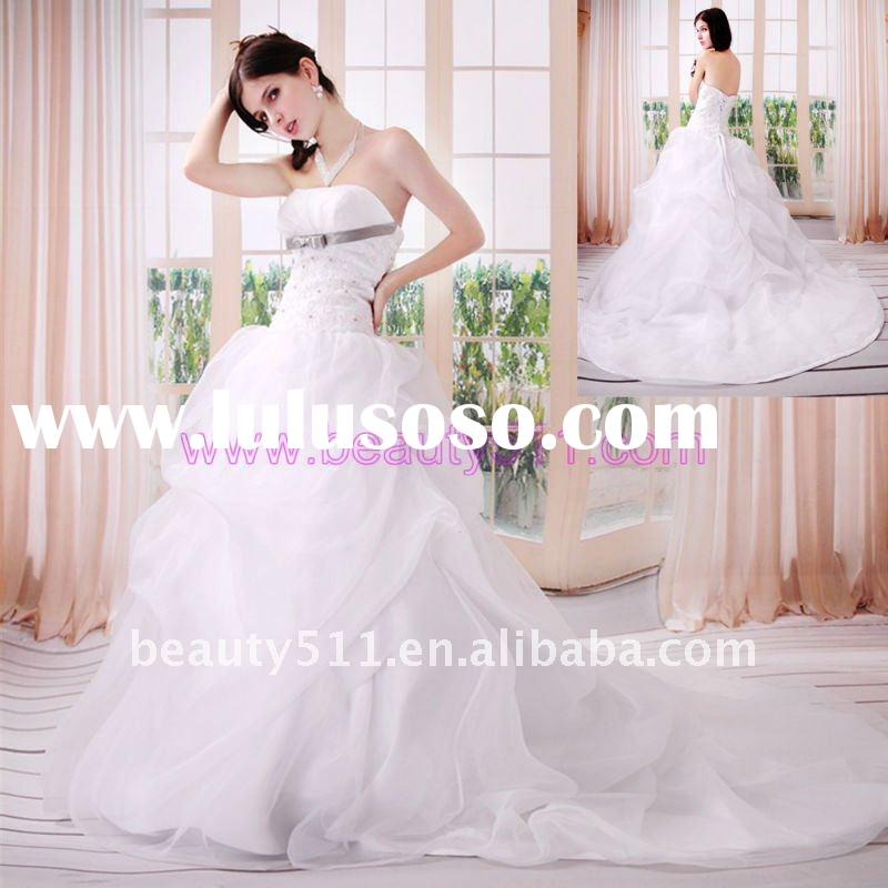 2011 Astergarden Real Photo Strapless Royal Train White Organza White Wedding Dress AS157