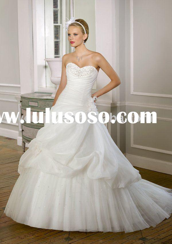2011 Embroidered Organza and Tulle Removable flowers wedding dresses
