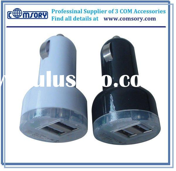 2011 Hot Dual USB car charger for iPad car charger for Iphone USB car charger