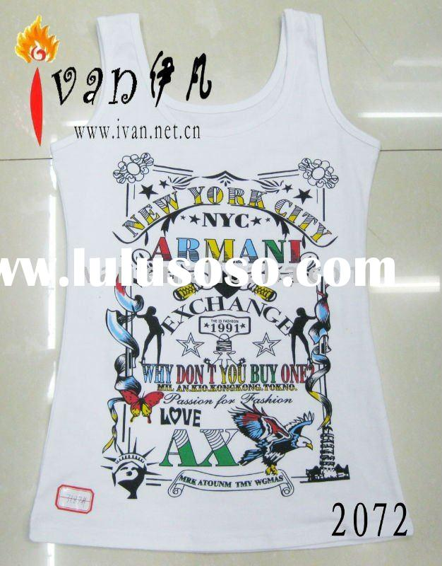 2011 New Model 100% Cotton Fashion Girls Wording Printed t-shirt