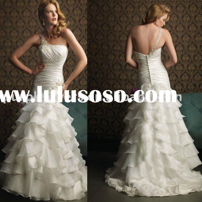 2011 One-shoulder strap beaded A-line wedding dress