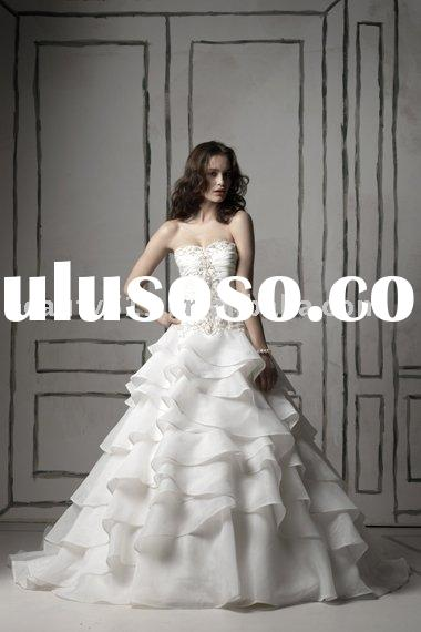 2011 elegant vintage organza long sleeve bridal dress wedding gown WDAH0559
