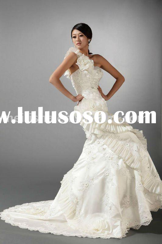 2011 ivory mermaid lace one-shoulder wedding dress