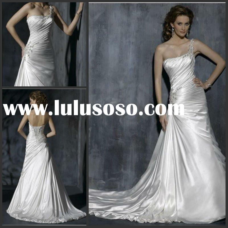 2012 Bright beaded appliqued one-shoulder ruched bodice taffeta bridal wedding gown YS-2125