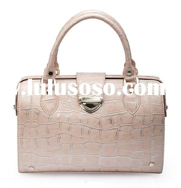 2012 Fashion Croco Genuine Leather Women Handbag,Boston Bag Lady