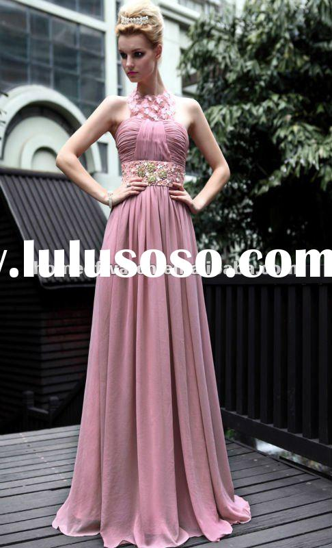 2012 Lady prom dress,Pink Sleeveless Lady Formal prom dress With Crystals And Lace Halter Neck (NBY0
