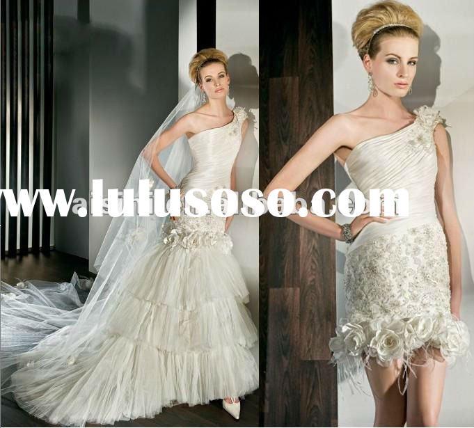 2012 Mermaid One Shoulder Pleated Bodice Removable/Dettachable Skirt newest wedding dress