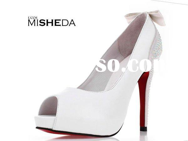 2012 Reserved sheepskin upper high heel bridal shoes/Fashion rhinestone women's evening part