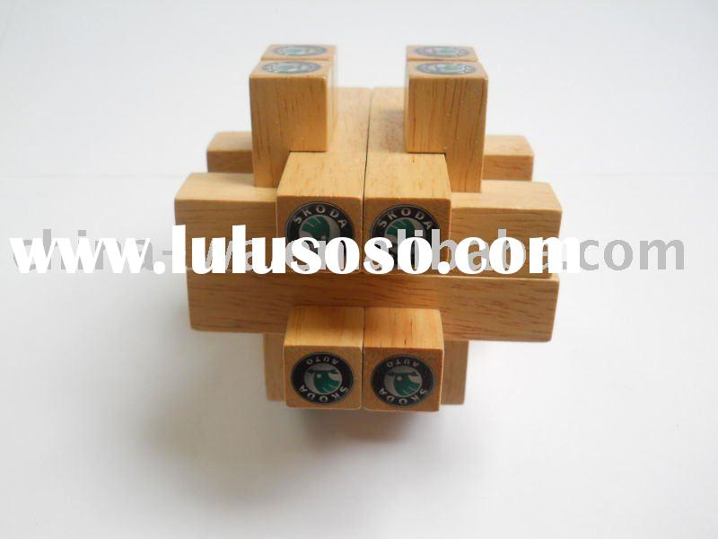 2012 SKODA promotion rubber wood toy intelligence lock or brain teaser