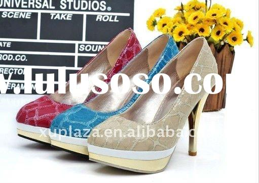 2012 Spring Snake Emboss Pumps high heel women shoes Beige Blue Red US size 4.5~8.5