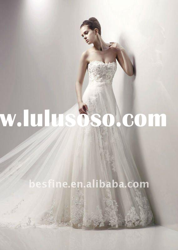 2012 high quality halter charleston luxurious tulle and spanish lace wedding dress