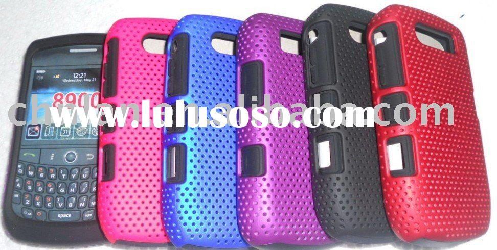 2 in 1 case for blackberry 8900(mesh hard case with silicon case),13 colors