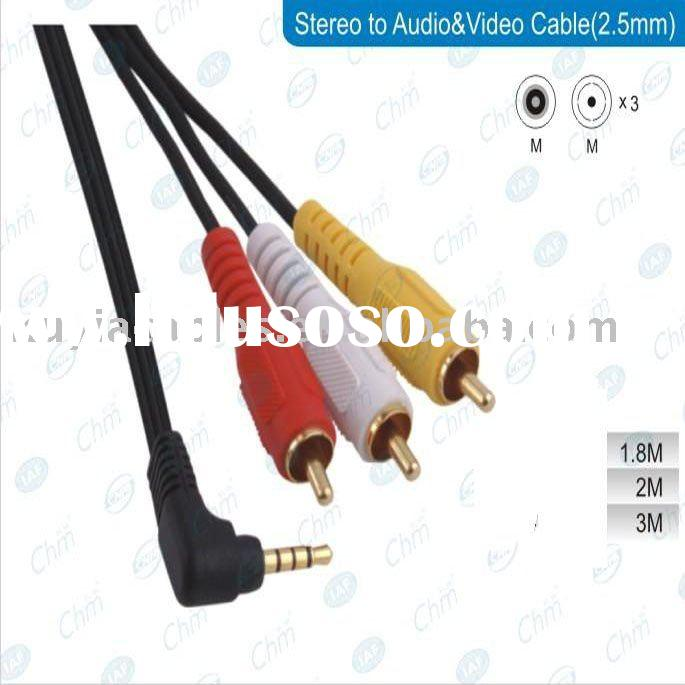 3.5mm AV Plug to 3-RCA Audio/Video Camcorder Cable