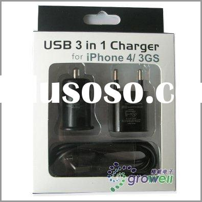 3 in 1 Mini usb car and home charger for iphone 4 4G/3G 3GS