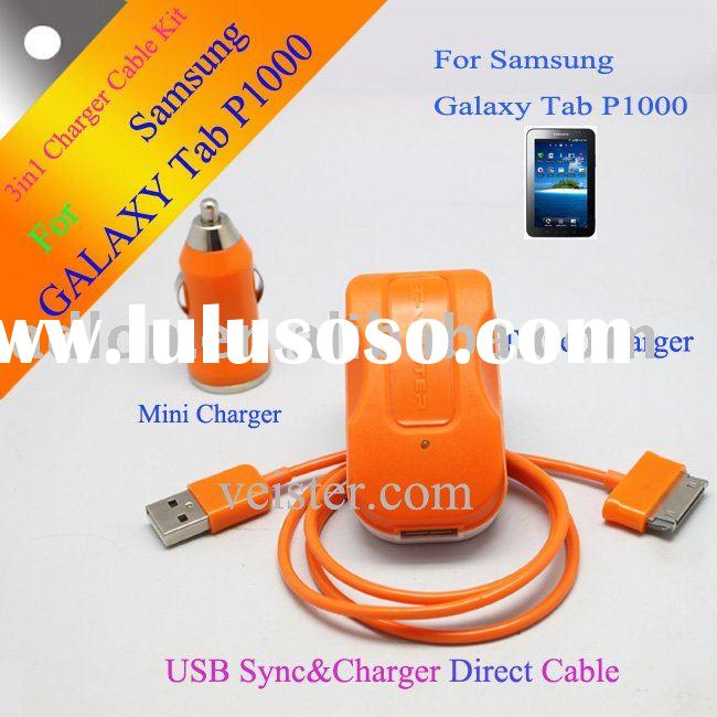 3 in 1 USB+Car+Wall Charger for Samsung Galaxy Tab P1000