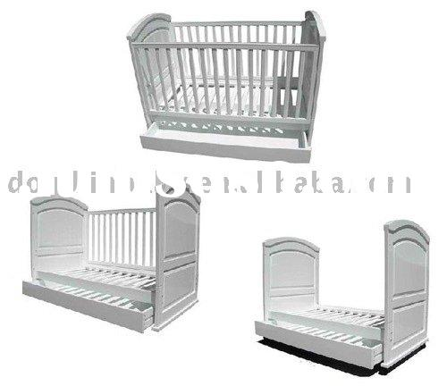 3-in-1 sleigh baby cot with bottom drawer+convert to toddler bed, baby bed