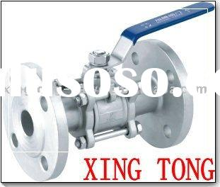 3pc stainless steel ball valve with flanged ends of ANSI type
