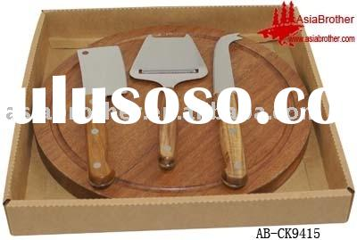 3pcs cheese knife set with wooden cutting board