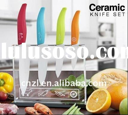 4pc Colour Coded ceramic knife set with non-slip clear acrylic block(hs)