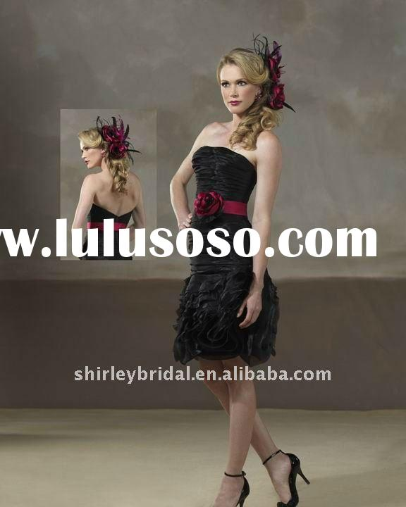 7966 New Arrival Strapless Aline Knee Length Hand Made Flower Pleats Zipper Back Black Organza Bride