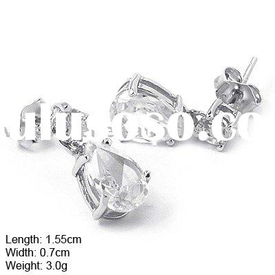 925 Silver Earring, Silver Ear pin without MOQ, 925 Silver Ear pin with CZ Stones (D-200)