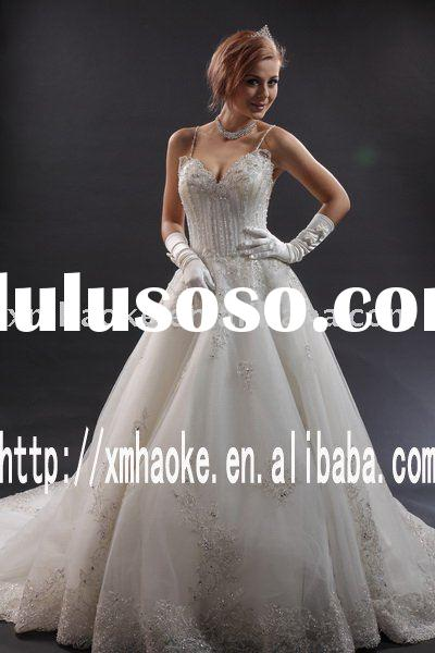 A9787 A-line Spaghetti Straps Cathedral Train Length Wedding Gown