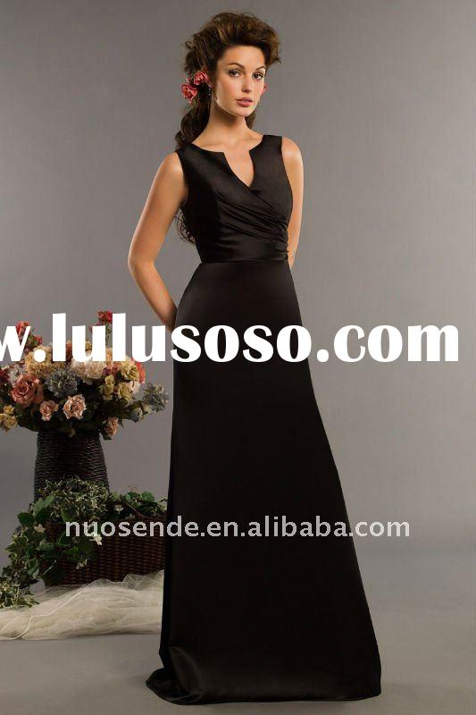 A line jewel floor the sarah dress length black satin Evening Dresses