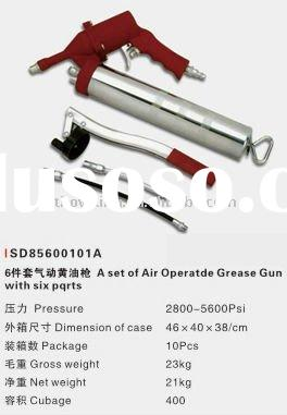A set of air operated grease gun with six parts