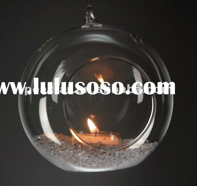 Ball shaped hanging glass candle holder