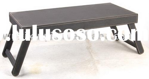 Black Faux Leather Folding Bed Table