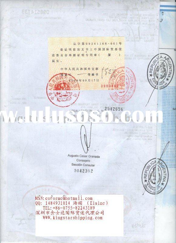 CO/CERTIFICATE OF ORIGIN to Argentina,endorsed by Embassy