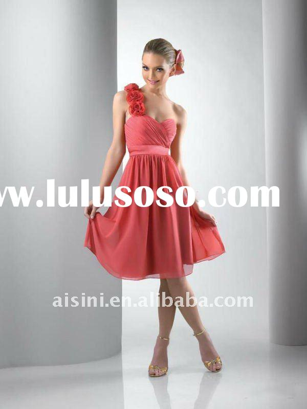 Chiffon one-shoulder fabric motif flowers Short Bridesmaid Dresses