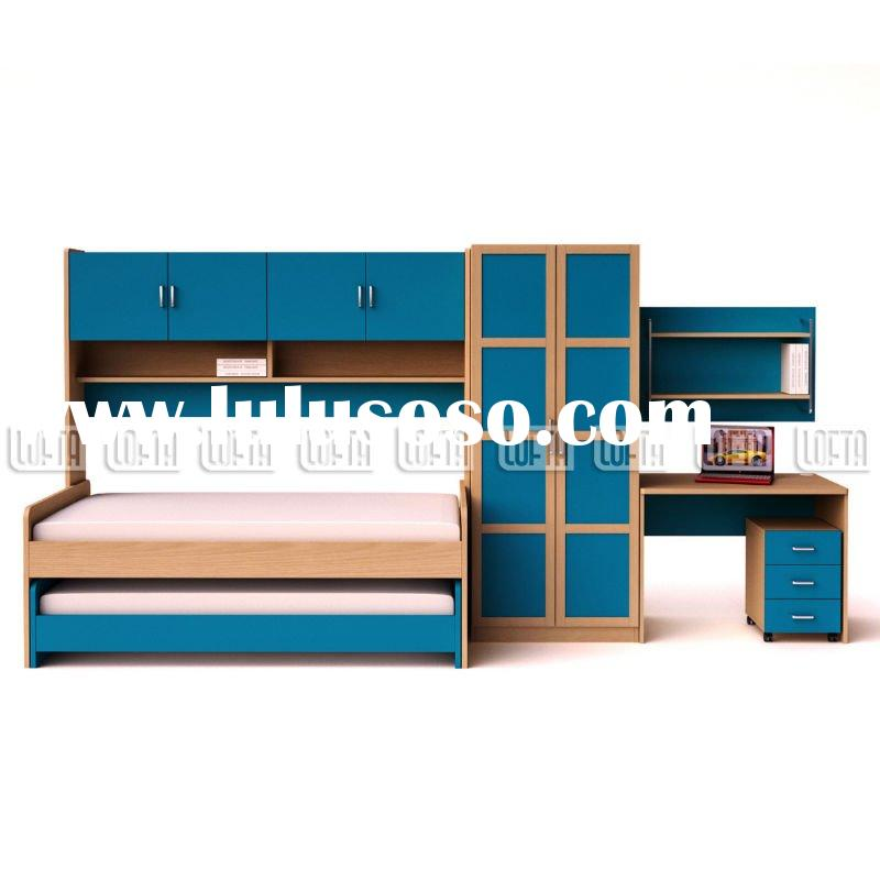 Child bedroom furniture sets with Single bed, Trundle, robe, desk, small chest, bedhead storage and