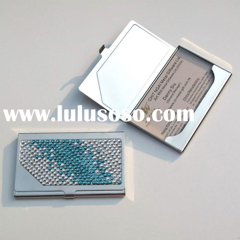 Classy business card holder with crystal logo on the lid