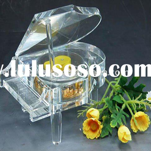 Clear Crystal Piano Design Music Box Wedding Gifts Favors