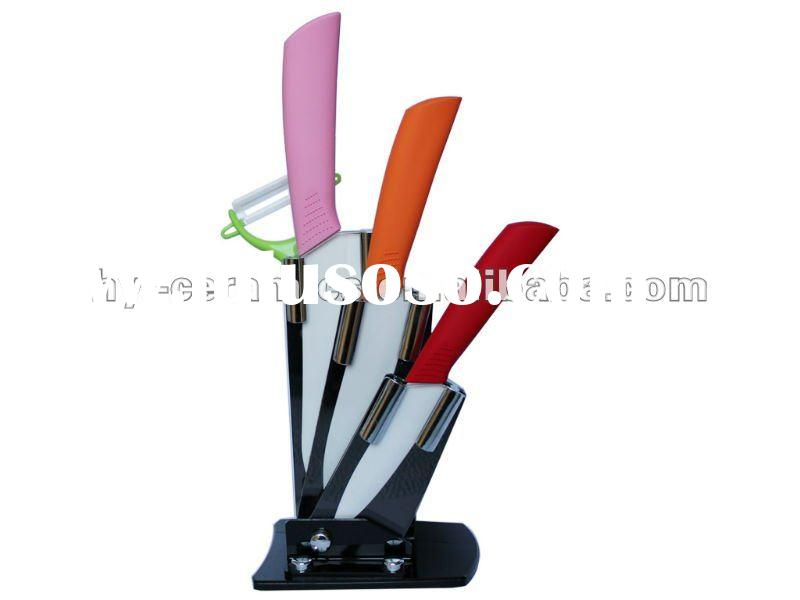 Colorful!4pcs Ceramic Kitchen Knife Set With Acrylic Block