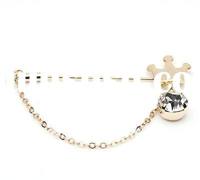 Crown Shape With Crystal Gold Plated Alloy Brooch 002119,Fashion Accessories