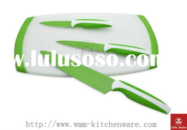 Cutting board with knife set
