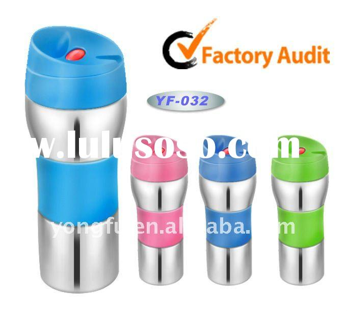 Double wall stainless steel travel mug with color lid