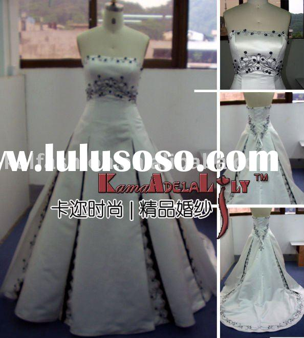 EB019 smooth satin subtle embroidery silver wedding dress elegant wedding gown