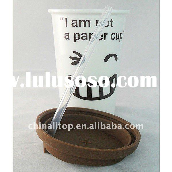 "Eco Coffee procelain Mug with Silicone Lid & Sleeve ""I am not a paper cup"""